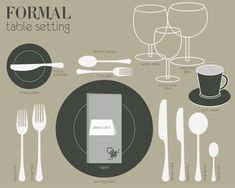 Formal Table Setting Basic Table Setting, Casual Table Settings, Sparkling Wine Glasses, White Wine Glasses, Glass Table Set, A Table, Table Setting Etiquette, Wine Butter, Formal Dining Tables