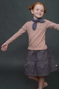 Twill Francie Skirt with Marine top | Olive Juice #girlskirt