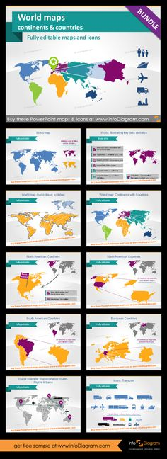 World maps, every continent, countries and lots more. Icons useful to highlight locations and show transport routes in supply chain presentations. You can edit everything in PowerPoint. Create infographics. You will not need any other maps to prepare appealing slide decks.  #PowerPoint #theme #worldmap #map #template