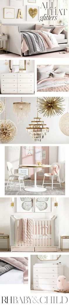 Create her dream room with plush upholstered furniture, embellished bedding, mirrored accents and sparkling lighting. Shop this style at RH Baby & Child. #childrenfurniture