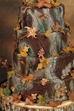 Camo Baby Shower Cake (trim w/hunter orange and deer family on top)