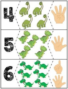 Teach counting skills with dinosuars! Great for teaching counting skills and number recognition for numbers Quick prep and great for math centers! Dinosaurs Preschool, Dinosaur Activities, Numbers Preschool, Counting Activities, Preschool Learning Activities, Kindergarten Math, Book Activities, Preschool Activities, Kids Learning