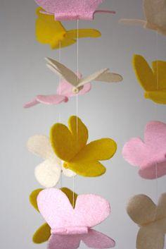 felt butterfly mobile - beautiful idea