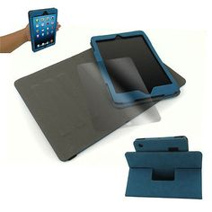 APPLE IPAD MINI CASE COVERSCREEN PROTECTOR SUEDE AQUA BLUE 360 DEGREE ROTATING