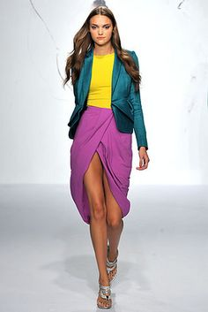 Rachel Roy Colour Blocking Collection, Spring 2010 (Still relevant to me :) Neon Outfits, Purple Outfits, Colourful Outfits, Fashion Outfits, Blazer Fashion, Split Complementary Color Scheme, Complimentary Colors, Rachel Roy, Fashion Colours