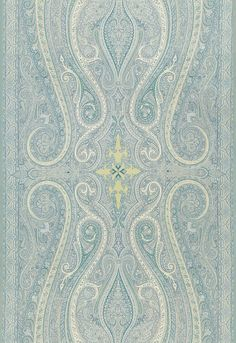 Wallpaper Paisley Plays Ley Teal And Metallic Silver