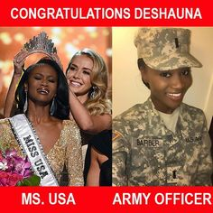 Beauty meets Courage...Congratulations to the Army Officer Deshauna Barber for being crowned MS. USA #jerseyclippers #usarmy #army #dc #courage #beauty #stayfresh #staysharp