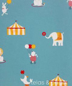papel pintado infantil Circus azul verdoso, telas & papel