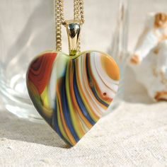 Heart Pendant Fused Glass Jewelry  Hidden Earth by IntoTheLight