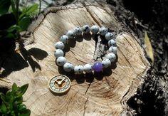 Diorite beaded bracelet / Gemstones bracelet / by RetroBicycle, €12.00