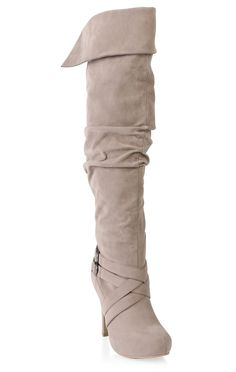tall high heel boot in allover suede with buckle strap and cuff $49.50