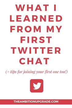 Wondering what Twitter chats are like? If you want tips and ideas for partaking in your first Twitter chat to grow your biz, click through to read this article!   TheAmbitionUpgrade.com