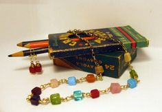 Wire Wrapped Necklace Colorful Cubes of Glass 2 by simplysuzie2, $20.00
