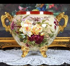 Outstanding Footed Limoges France hand-painted Jardiniere with gold loop handles, roses and iris, 1894-1900