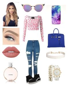 """Iam all the way up"" by michelle-martinez890 on Polyvore featuring Skinbiquini, Topshop, Vans, Fendi, Lime Crime, Chanel, Hermès, Humble Chic and Charlotte Russe"