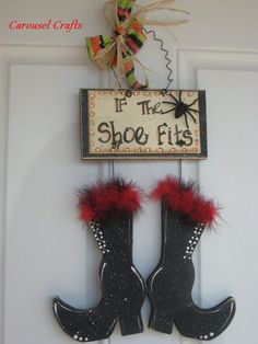 Pinterest Crafts Halloween | Halloween Wood Craft Witch's Boots