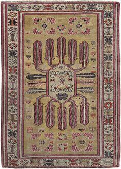 "ANTIQUE GHIORDES Origin: TURKEY Size: 3' 6"" x 5' 0"" Rug ID # 1187"