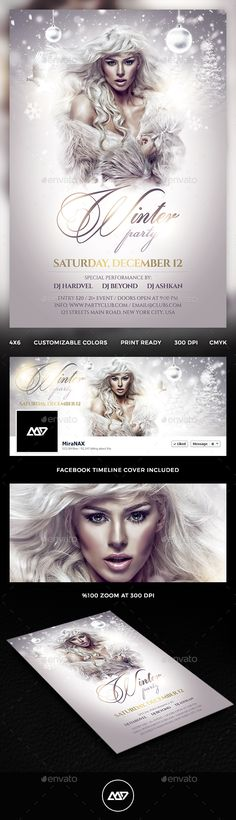 Winter Party Flyer Template PSD #design Download: http://graphicriver.net/item/winter-party/13614179?ref=ksioks