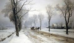 An Extensive Winter Landscape With a Horse and Cart by Anders Andersen-Lundby