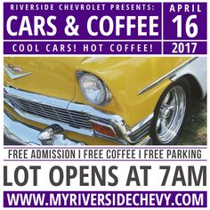 Finally, a Cars and Coffee meet in Riverside! Right here in the heart of the historic Riverside Auto Center, no long early morning drives to the beach! Bring your classic, hot rod or muscle car and hang out with a cup of coffee and share your ride! Lot opens at 7 for parking, event from 8 to 10 :) #CoolCarsHotCoffee Riverside Chevy