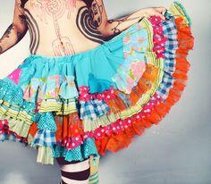 Ruffle Skirt. colorful skirt. full skirt. Gothic by CrudeThings, $115.00