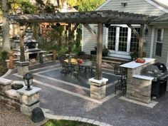 Home Backyard Designs Paver Patio With Wood Pergola Patio Design, Backyard Designs, Flower Texture, Concrete Color, Wood Pergola, Outdoor Seating Areas, Build Your Dream Home, Outdoor Decor, The Great Outdoors
