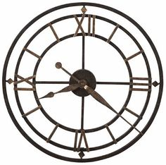 This antique style wrought iron wall clock is finished in aged iron with antique gold-finished outer ring. Antique gold-finished diamond shapes and Roman numerals mark the and 9 hours. Antique gold-finished hour and minute hands. Modern Industrial Furniture, Industrial Chic, Industrial Apartment, Antique Clocks, Antique Gold, Howard Miller Wall Clock, Big Wall Clocks, Clock Wall, Clock Decor