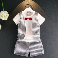 Boys Clothing Sets Striped Two Pieces Shorts T-shirt +Pants Sets Kids Clothes