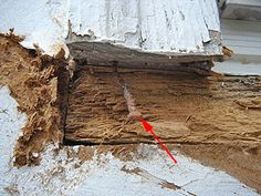 Old rusted nails next to rot-damaged wood sill.