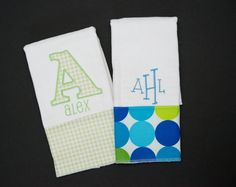 Set of 2 EMBROIDERED Burp Cloths You choose fabrics by brandnoonan, $19.00
