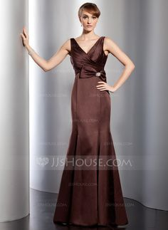 Trumpet/Mermaid V-neck Floor-Length Satin Evening Dress With Ruffle Crystal Brooch Bow(s) (017014758)