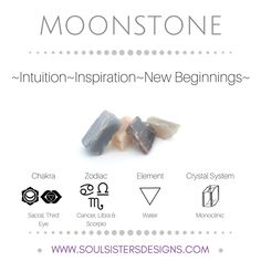 Metaphysical Healing Properties of Moonstone, including associated Chakra, Zodiac and Element, along with Crystal System/Lattice to assist you in setting up a Crystal Grid. Go to https:/stoulsistersdesigns.com to learn more!