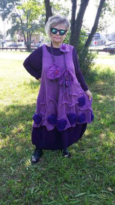 Handknitted  Bohemian Lagenlook long asymmetrical tunic in lilac color decorated with rosettes