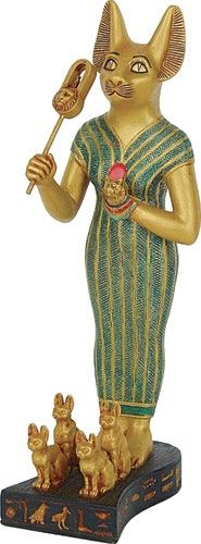 """< Bastet Egyptian Cat with Sistrum and Kittens, 8.5""""H $59.95 > Home Decorations & Garden Accents ***SALE*** Up To 80% Off!! FREE SHIPPING in USA! BazaarsRUs.com"""
