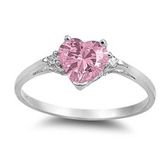 Heart Shaped Promise Rings, Beautiful Promise Rings, Heart Rings, Rings For Girls, Wedding Rings For Women, Pink Sapphire, Pink Topaz Ring, Stone Rings, Rings