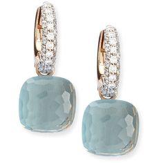 Pomellato Nudo Blue Topaz Diamond Drop Earrings (22,315 SAR) ❤ liked on Polyvore featuring jewelry, earrings, серьги, diamond jewellery, pomellato earrings, earring jewelry, blue topaz jewelry and pave diamond earrings