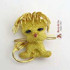 $589.50    Vintage-Lion-Brooch-18-K-Gold-Sapphire-Eyes-Ruby-Nose