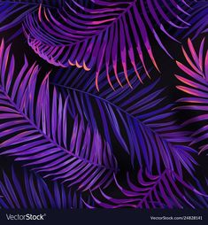 Tropical neon palm leaves seamless pattern floral vector image on VectorStock Palm Wallpaper, Graphic Wallpaper, Neon Jungle, Jungle Theme, Palm Background, Jungle Pattern, Neon Backgrounds, Samsung Galaxy Wallpaper, Object Photography