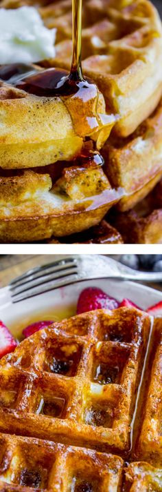 These are the BEST homemade waffles, guys. I've been making this classic waffle recipe for 10 years. They are easy and the ingredients are pantry staples. Quiche Recipes, Waffle Recipes, Brunch Recipes, Pancake Recipes, Delicious Breakfast Recipes, Delicious Desserts, Recipe For 10, Recipe Box, Classic Waffle Recipe