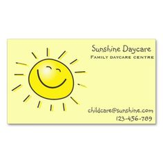 sunshine family daycare centre childcare business card - Daycare Business Cards