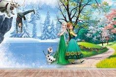Items similar to Frozen Mural Princess Elsa Wallpaper, Wall décor, Nursery and room décor, Wall art, Canvas print on Etsy Frozen Nursery, Frozen Wallpaper, Wall Murals, Wall Art, Nursery Wallpaper, Free Prints, Princesas Disney, Decoration, Elsa