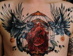 Heart locked away from the ravens, beautiful chest piece tattoo