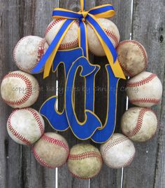 Baseball wreath... make one on a standing form for daddy's grave