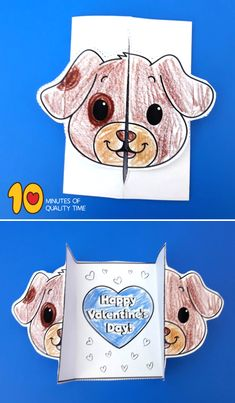 valentines day card ideas for him Puppy Valentines, All Valentine Day, Card Templates Printable, Valentine's Day Printables, Easy Arts And Crafts, Crafts To Do, Teachers Day Card, Halloween Spider, Fun Activities For Kids