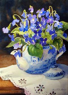 Ann Fullerton Watercolor - Spode Teapot and Violets