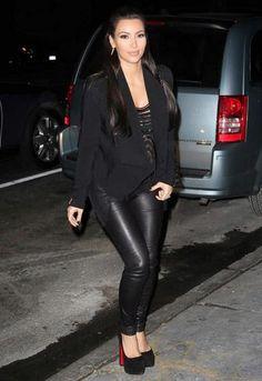 Kim Kardashian was spotted wearing a Bec & Bridge vest and Christian Louboutin shoes.