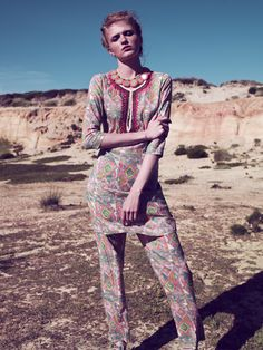 Printed tunic and pants by Christophe Sauvat