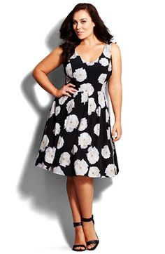 City Chic 'Photo Floral' Fit & Flare Dress (Plus Size) available at #Nordstrom