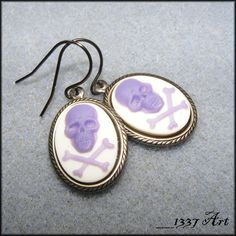 Skull Cameo Earrings Purple on White Gothic Jewelry