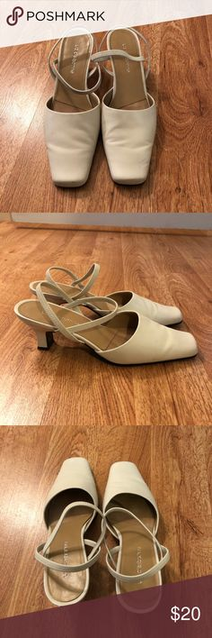 """White leather heels White leather heels by Liz Claiborne. Size 7M. Leather upper. 2"""" heel. Great looking and comfortable heels perfect for work or play. Rarely worn, in excellent condition. Liz Claiborne Shoes Heels"""